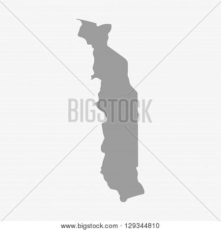 Map of Togo in gray on a white background