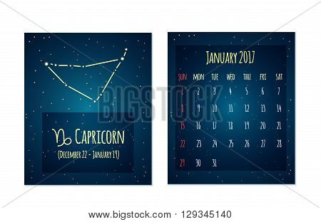 Vector calendar for January 2017 in the space style. Calendar with the image of the Capricorn constellation in the night starry sky. Elements for creative design ideas of your calendar