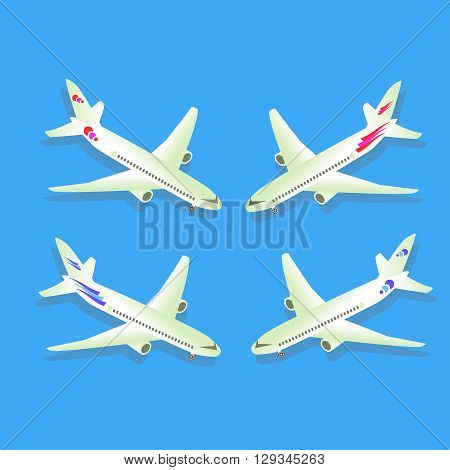 Passenger airplane isolated on blue background. Aircraft. Civil aviation. Vector illustration