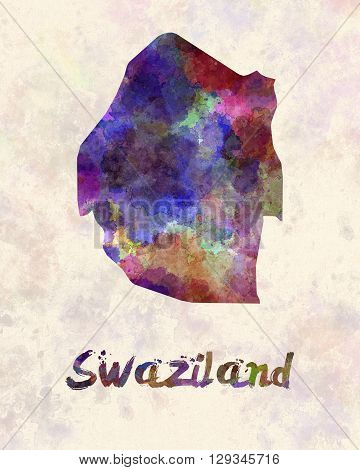 Swaziland map in artistic and abstract watercolor