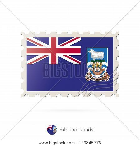 Postage Stamp With The Image Of Falkland Islands Flag.