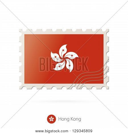Postage Stamp With The Image Of Hong Kong Flag.