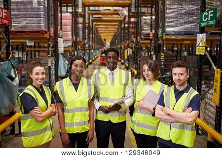 Warehouse staff group portrait, elevated view