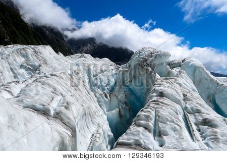 Glacier ice on top of a mountain in New Zealand