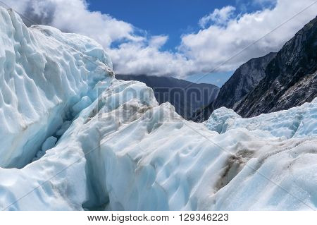 Glacier ice on a mountain in New Zealand