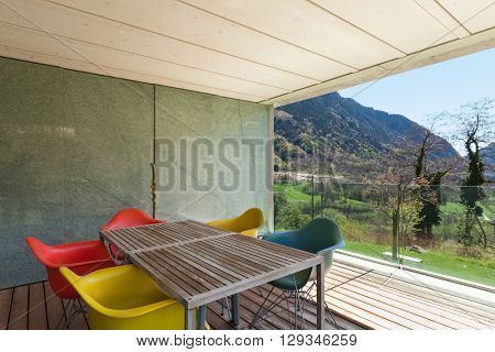 Architecture modern design, veranda of modern house