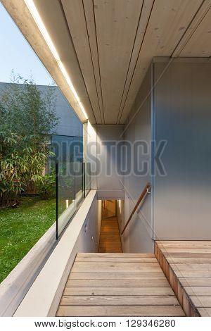 Architecture modern design, external passage of a house, scale