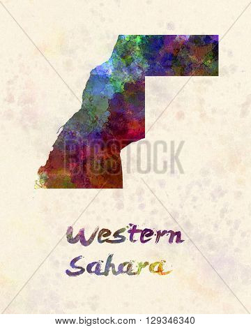 Western Sahara map in artistic and abstract watercolor