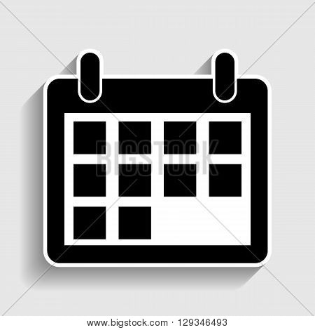 Calendar sign. Sticker style icon with shadow on gray.