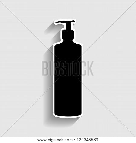 Gel, Foam Or Liquid Soap Dispenser Pump Plastic Bottle silhouette. Sticker style icon with shadow on gray.