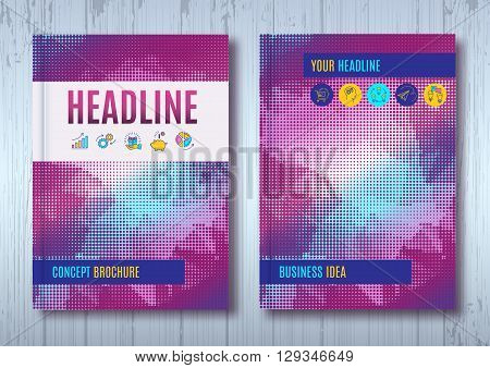 Business brochure design template A4 size. Vector flyer layout, halftone background with elements for report, magazine, book cover, poster design. Purple violet blue color palette