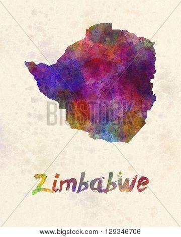 Zimbabwe map in artistic and abstract watercolor