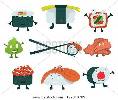Sushi set on a white background. Sushi roll, ginger, wasabi. Japanese food. Cartoon Vector. Comic characters. Vector illustration.