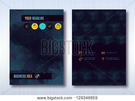 Business brochure template layout, cover design annual report, magazine, flyer or booklet in A4. Dark turquoise halftone light background with business thin line icons. Vector Illustration