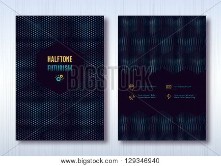 Business brochure template layout, cover design annual report, magazine, flyer or booklet in A4. Dark turquoise halftone cube light background with thin line icons. Vector Illustration
