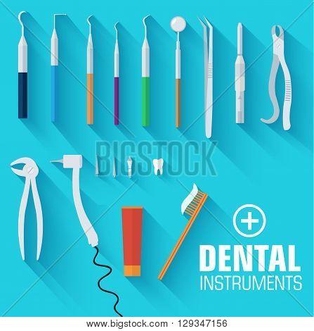Flat Dental Instruments Set Design Concept Background. Vector Il