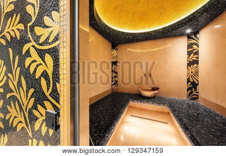 MOSCOW - APRIL 2014: Interior of a Turkish steam bath in beauty center and Spa Territoriya