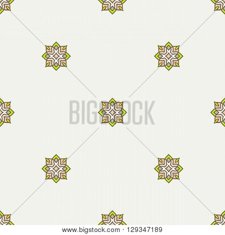 Geometric seamless pattern in trendy mono line style. Minimal design textile background. Pastel brown and green neon color palette