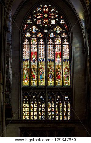 Colognem Germany - May 16: This is one of the stained glass windows of the Cologne Cathedral May 16, 2013 in Cologne, Germany.