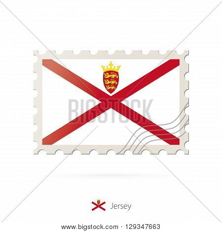 Postage Stamp With The Image Of Jersey Flag.