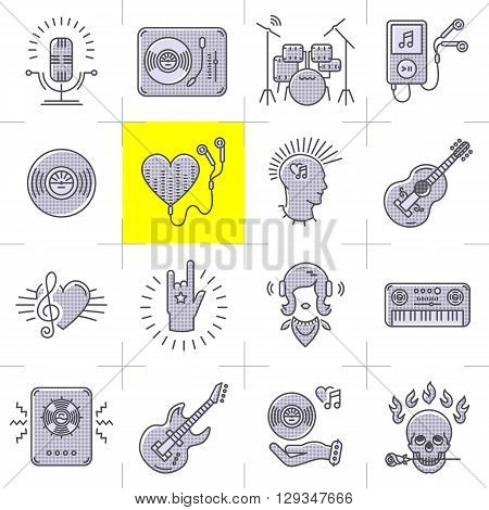 Thin lines music icons set. Rock music band, punk rocker, skull icon, notes, instruments, guitar, dj. Vector music illustration