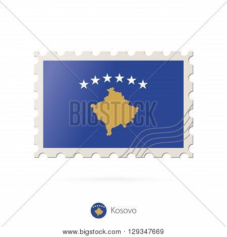 Postage Stamp With The Image Of Kosovo Flag.