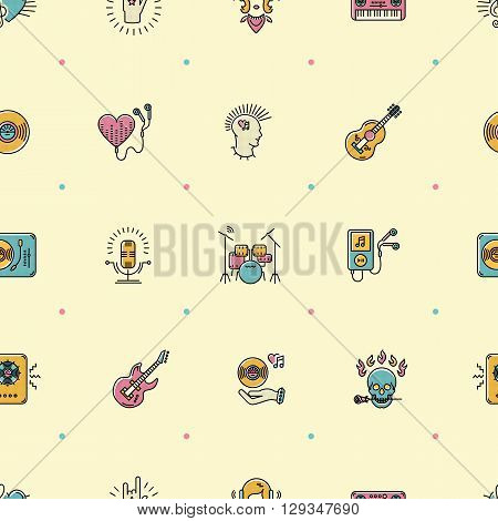 Music seamless pattern, thin lines rock icons. Punk rocker and skull icon, notes, instruments, guitar, dj. Vector music illustration