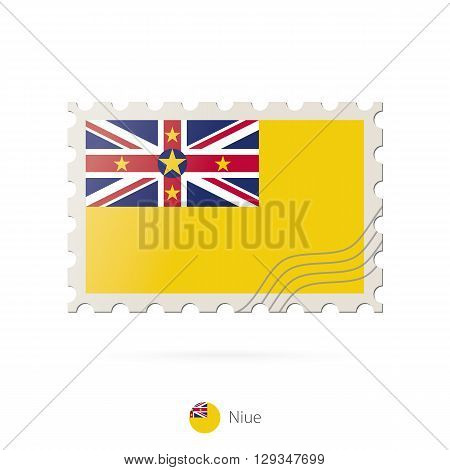 Postage Stamp With The Image Of Niue Flag.
