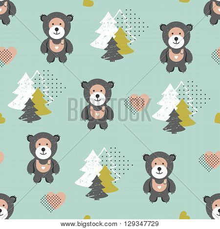 Vector seamless teddy bear pattern, kids background, hipster style. Multi-colored pastel and funny seamless texture