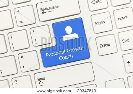 White Conceptual Keyboard - Personal Growth Coach (blue Key)