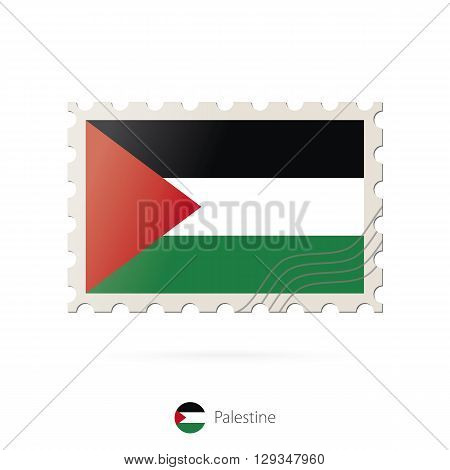Postage Stamp With The Image Of Palestine Flag.