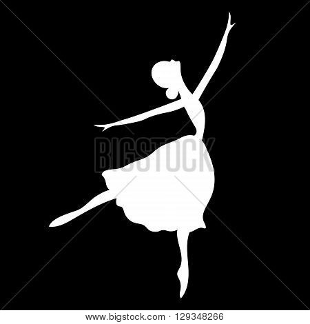 Vector illustrations of ballet icon isolated on black background. Ballet women icon. Ballet stylized symbol. Dance icon. Ballerina in dance silhouettes