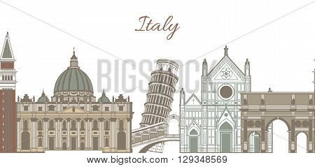 vector colored template with composition of famous landmarks of Italy