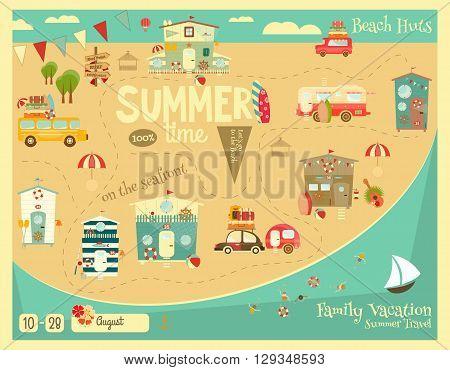 Summer Vacation Card. Beach Huts Caravans Cars on Summer Poster. Seafront. Camping. Vector Illustration.