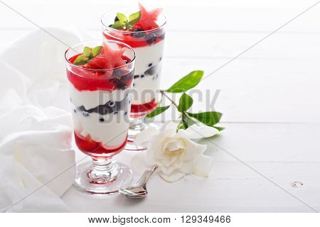 Red blue and white yogurt parfait with watermelon and blueberry