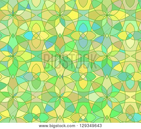 Seamless pattern with stained glass ornament in green colors. Colorful kaleidoscope background. Vector illustration