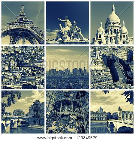 Collage of some pictures of different landmarks in Paris France such as the Eiffel Tower the Basilica of the Sacred Heart some bridges above the Seine River and some other