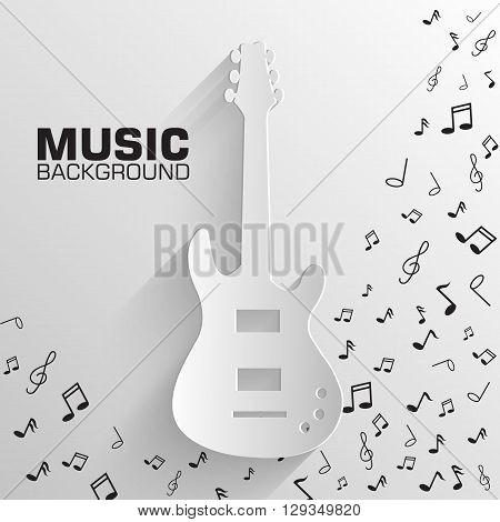 Paper Electro Guitar Vector Background Concept. Illustration Tam