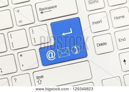 White Conceptual Keyboard - Blue Key With Communication Symbols