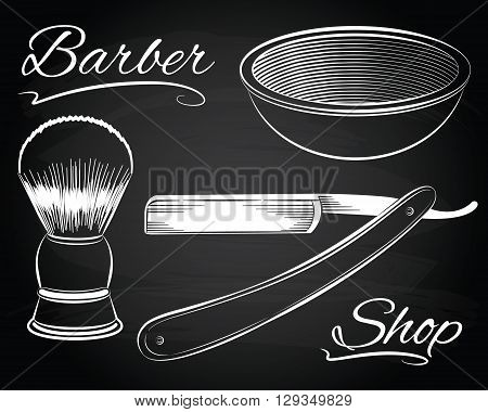 Vintage barber shop shaving, straight razor on the chalkboard background