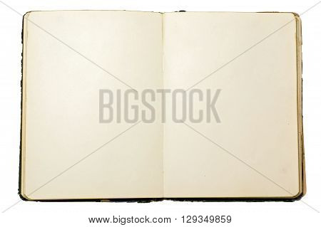 Vintage aged discolored notebook isolated over white background