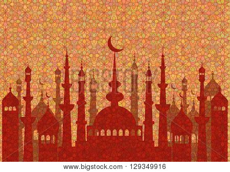 Red pattern with mosques on stained glass kaleidoscope backdrop for wishes with beginning of fasting month of Ramadan as well with Islamic holiday Eid al-Fitr and Eid al-Adha. Vector illustration