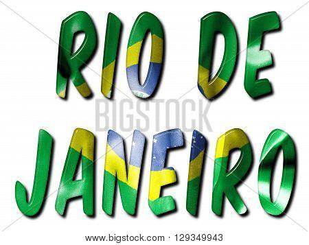 Rio de Janeiro word with a bevelled brazil flag texture