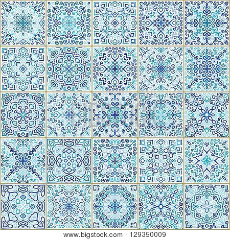 Blue Square Tiles Seamless Pattern. Rich tile ornament in oriental style. Square tile patchwork design. Intricate tile pattern. Boho chic tile pattern for fashion fabric, furniture, wallpaper.