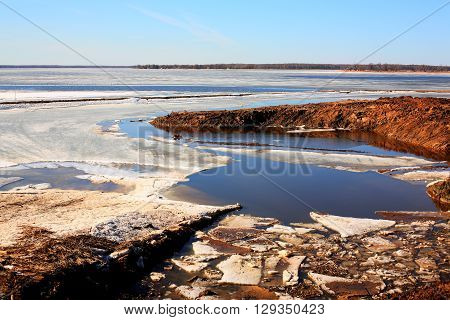 Spring in Russia. Ice on the Volga River thaws.