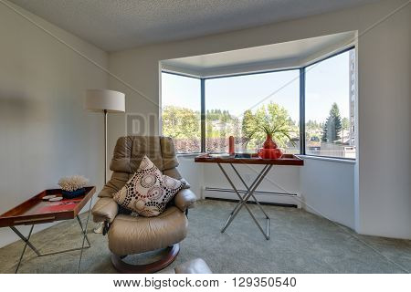 Bright living room seating area with leather chair and coffee tables