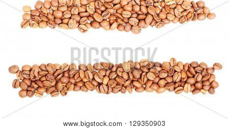 Arranged coffee beans isolated on white