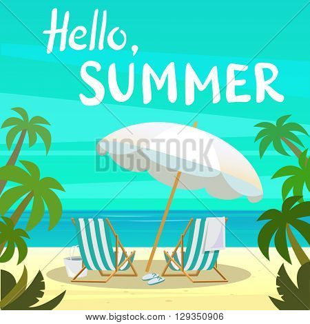 Summer island vacation vector illustration with deck chairs, beach, white umbrella. Template travel poster