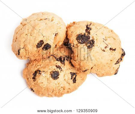 Cookies with raisins isolated