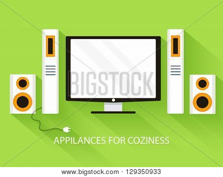 Flat Media Home Theater Background Concept. Vector Illustration